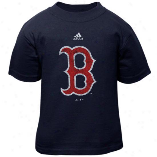 Adidas Boston Red Sox Toddler Distressed Logo T-shirt - Navy Blue