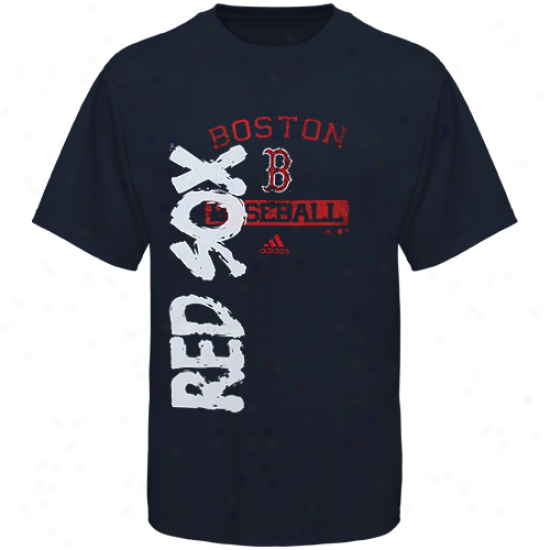 Adidas Boston Red Sox Youth Writing On The Wall T-shirt - Navy Blue