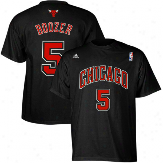 Adidas Carlos Booxer Chicago Bulls #5 Clear Number T-shirt - Black