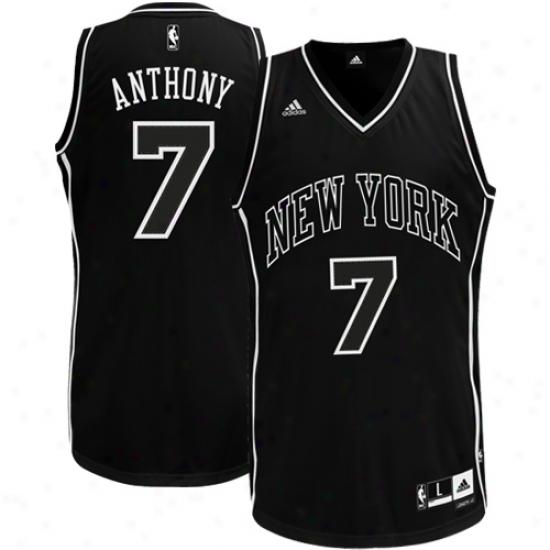 Adidas Carmelo Anthony New York Knicks Black & Wihte Swingman Jersey - Black