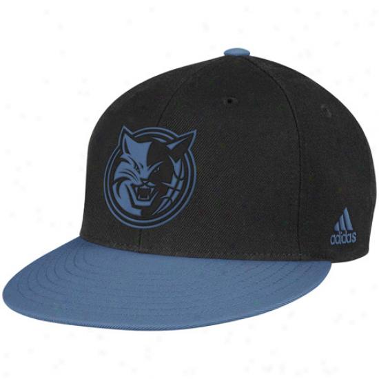 Adidas Charlotte Bobcats Black-bobcats Blue Vibe Snapback Asjustable Hat