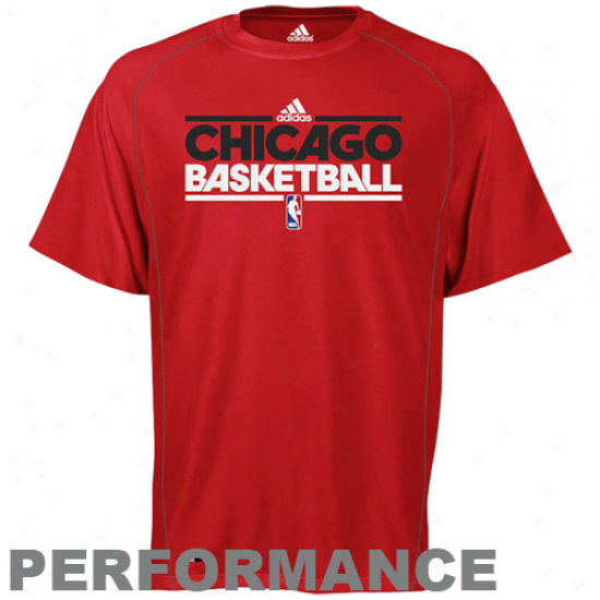 Adidas Chicago Bulls Red Practice Performance T-short