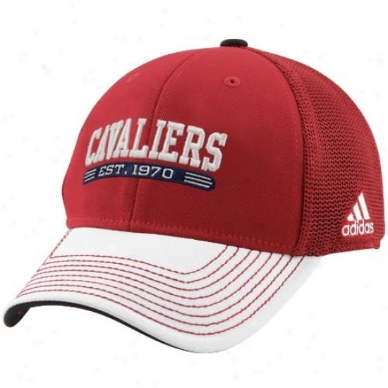 Adidas Cleveland Cavaliers Crimson-white Established Mesh Fpex Hat