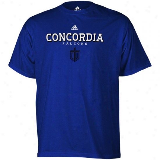 Adidas Concordia University Wisconsin Falcons Royal Blue True Basic T-shirt