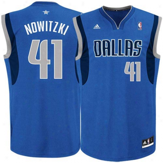 Adidas Dallas Mavericks Dirk Nowitzki Youth Revolution 30 Swingman Jersey - Royal Blue