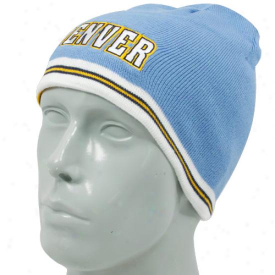 Adidas Denver Nuggets Light Blue-navy Blue Reversible Knit Beanie