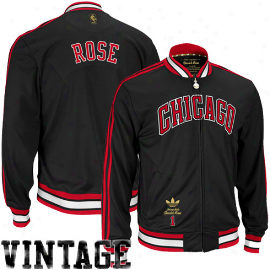 Adidas Derrick Rose Chicago Bulls Black-red Full Zip Player Track Jacket