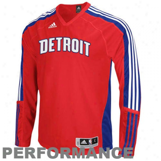 Adidas Detroit Pistons Red-royal Blue Shooting Performance Long Sleeve T-shirt