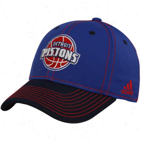 Adidas Detroit Pistons Royal Blue-black Tactel Flex Hat