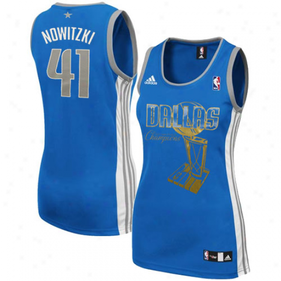 Adidas Dirk Nowitzki Dallas Mavericks Women's 2011 Nba Champions Fashion Replica Jersey - Blue
