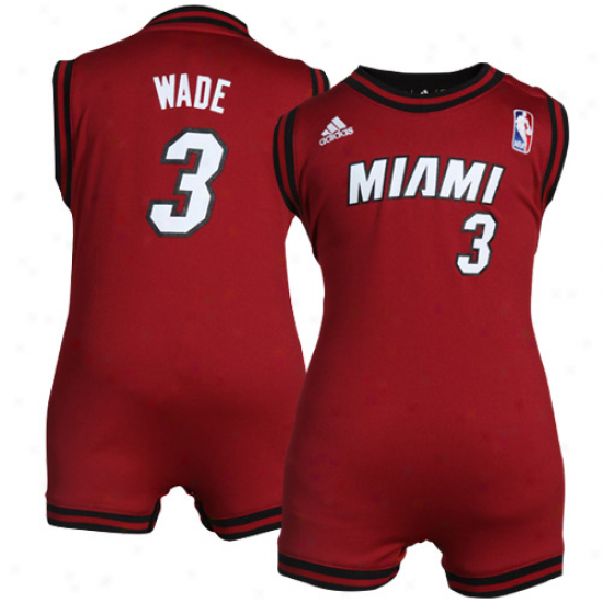 Adidas Dwyane Wade Miami Heat Infant Revolution Replica Jersey Creeper - Deep Red