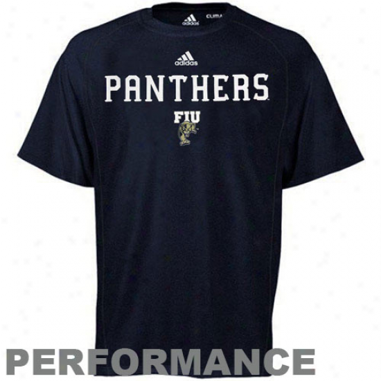 Adidas Florida International Golden Panther Sideline Performance T-shirt - Navy Blue