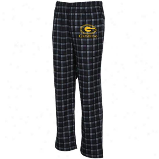 Adidas Grambling Tigers Black Tailgate Flannel Pajama Pants