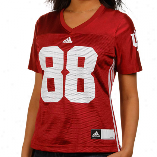Adidas Indiana Hoosiers #88 Women's Custom  Football Jersey - Crimson