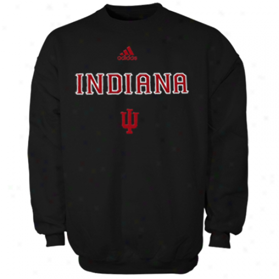 Adidas Indiana Hoosiers Dark Coaches Sideline Pin Dot Performance Pullover Sweatshirt