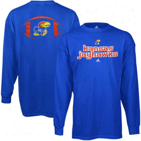 Adidas Kansas Jayhawks Backfield Long Sleeve T-shirt - Royal Blue