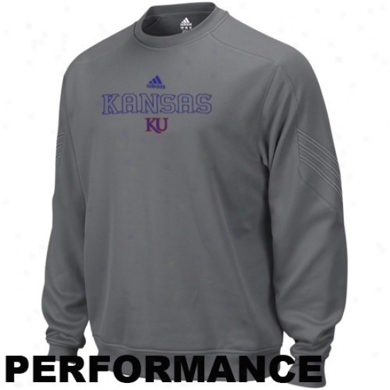 Adidas Kansas Jayhawks Charcoal Pin Dot Coaches Performance Crew Sweatshirt