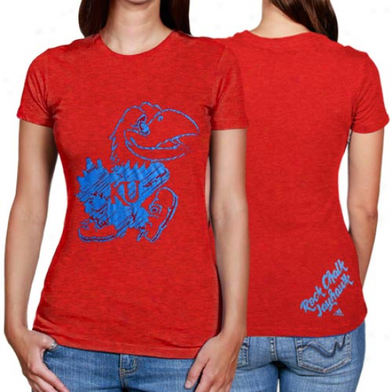 Adidas Kansas Jayhawks Ladies Scribbler Heathered T-shirt - Crimson