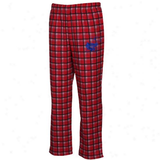 Adidas Kansas Jayhawks Red Tailgate Flannel Pajqma Pants