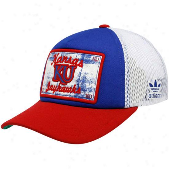 Adidas Kansas Jayhawks Royal Blue-crimson Patchwoork Pride Adjustable Trucker Cardinal's office