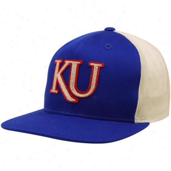 Adidas Kansas Jayhawks Royal Blue-natural Cruisin' Trucker Snapback Adjustable Hat