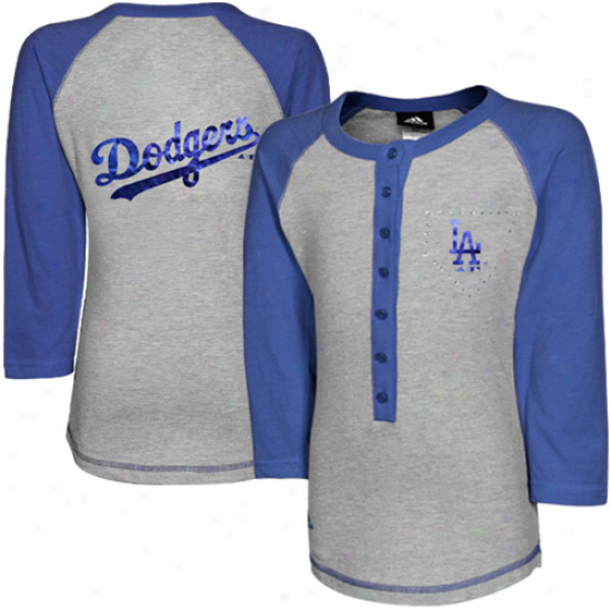 Adidas L.a. Dodgers Youth Girls Classic Baseball Long-sleeve T-shirt - Ash