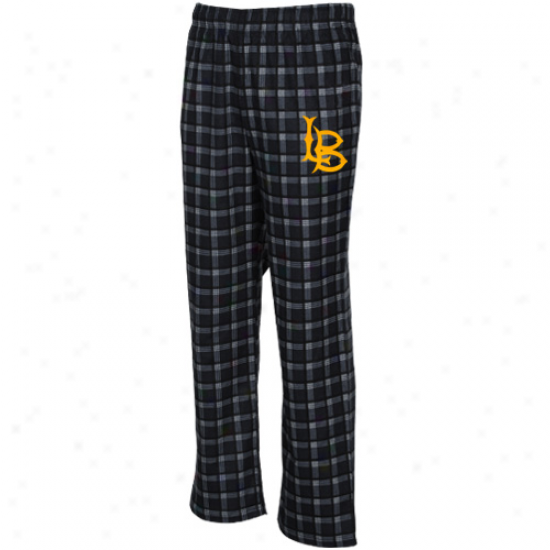 Adidas Long Beach State 49ers Black Tailgate Flannel Pajama Pants