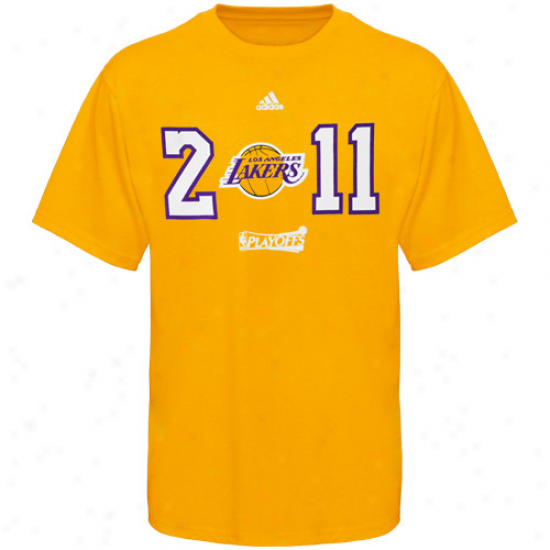 Adidas Los Angeles Lakers 2011 Nba Playoffs Year T-shirt - Gold