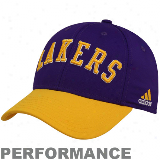 Adidas Los Angeles Lakers Purple-gold Worlds Professional Performance Flex Hat