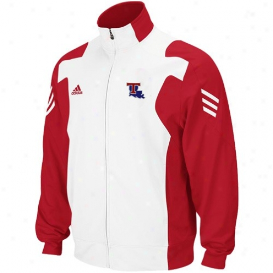 Adidas Louisiana Twch Bulldogs Red-white Scorch Full Zip Performance Warm-up Jacket