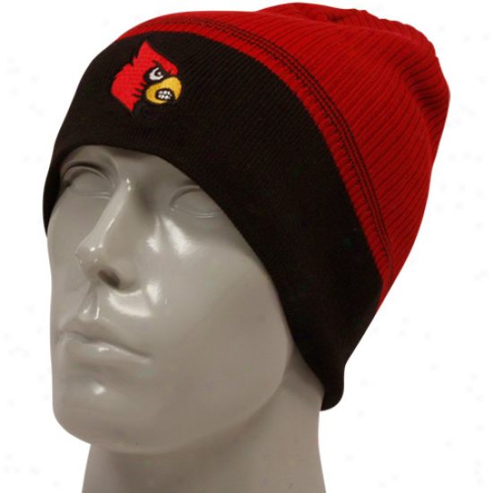 Adidas Louisville Cardinals Red-black Coaches Knit Beanie