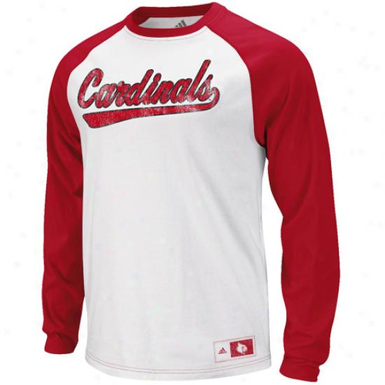 Adidas Louisvilld Cardinals Tailspin Raglan T-shirt - White-red