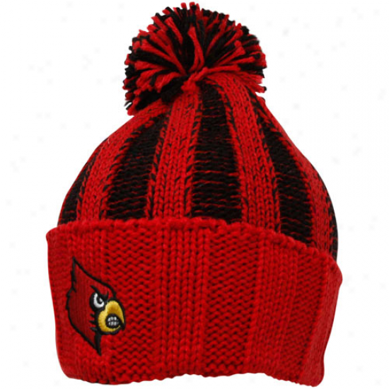 Adidas Louisville Cardinals Youth Red-black Striped Cuffed Knit Beanie