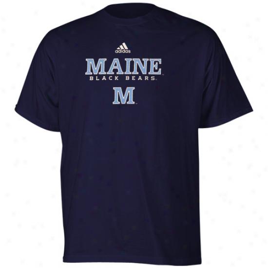Adidas Maine Black Bears Navy Blue True Basic T-shirt