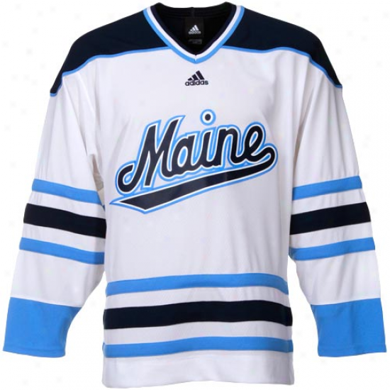 Adidas Maine Black Bears White Premier Hockey Jersey