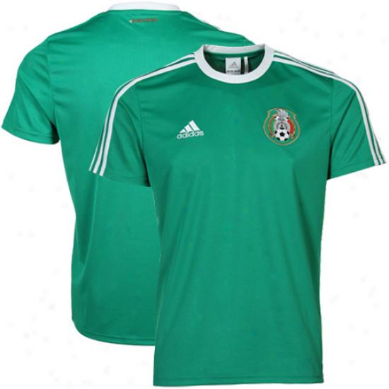 Adidas Mexico  Domicile Replica Soccer T-shirt 11/12 - Unripe
