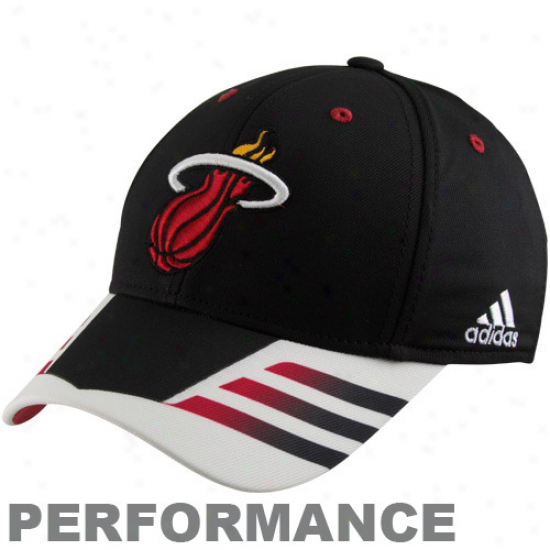 Adidas Miami Heat Black Authentic Team Flex Hat
