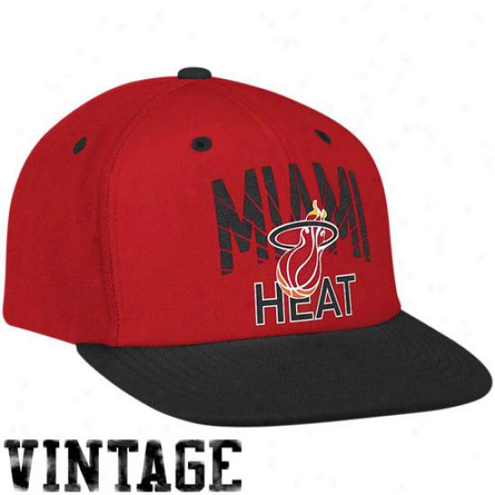 Adidas Miami Heat Red-black Retro Arch Snapback Adjustable Hat