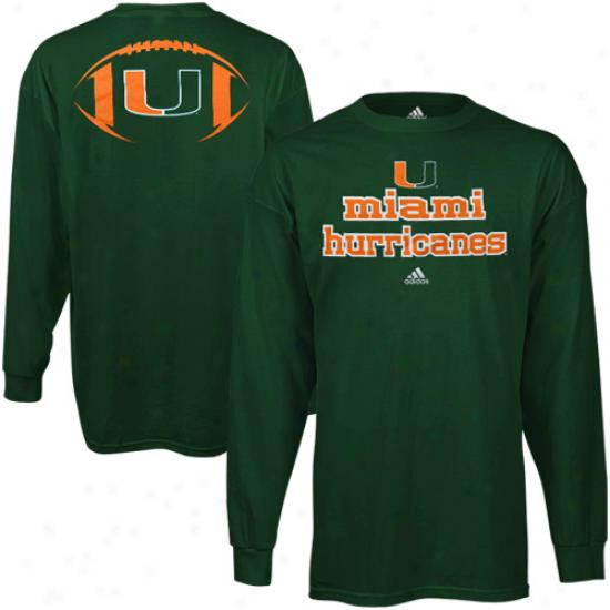 Adidas Miami Hurricanes Backfield LongS leeve T-shirt - Green