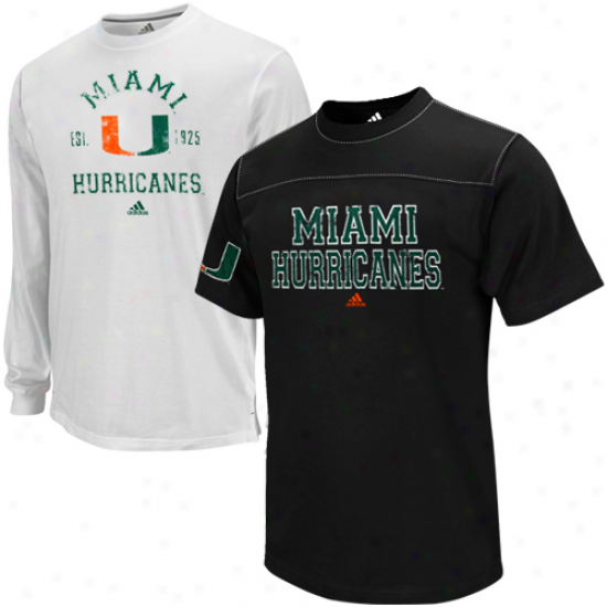 Adidas Miami Hurricanes Black-white T-shirt Combo Burden
