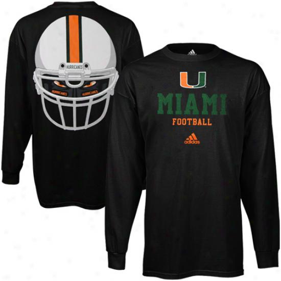 Adidas Miami Hurricanes College Eyes Long Sleeve T-shirt - Black