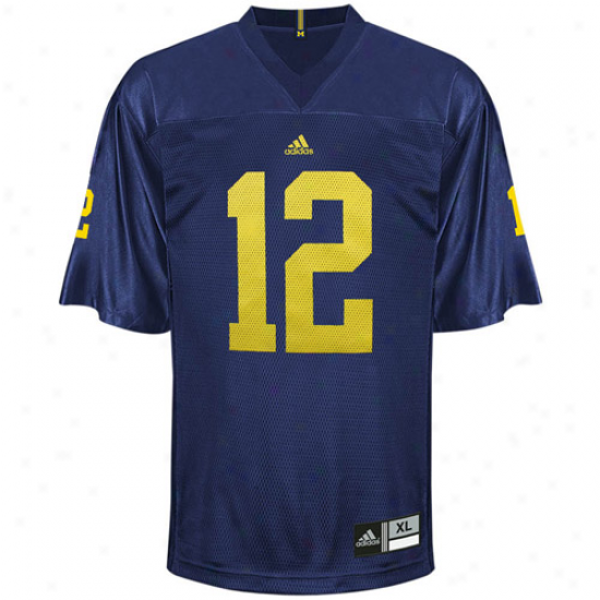 Adidas Michigan Wolverines #12 Replica Foothall Jersey-navy Blue