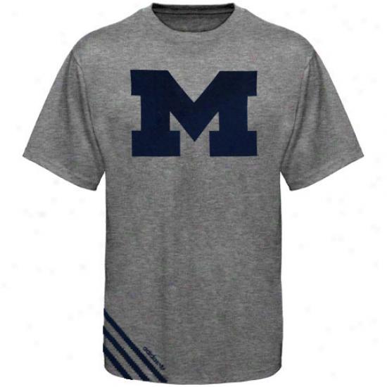 Adidas Michigan Wolverines Big Stripe Tri-blend T-shirt - Ash