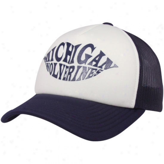 Adidas Michigan Wovlrines Ladies Navy Blue-natural Kiss  Adjustable Trucker Hat
