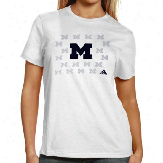 Adidas Michigwn Wolverines Lsdies White Inside The Lines T-shirt