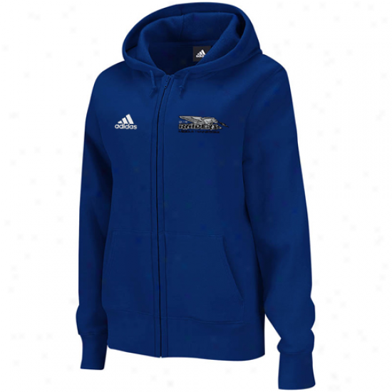Adidas Middle Tennessee State Blue Raiders Ladies Royal Melancholy Primary Logo Full Zip Hooddie Sweatshirt