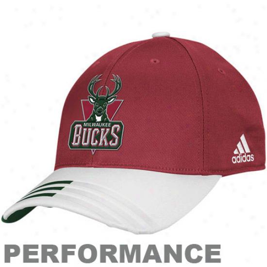 Adidas Milwaukee Bucks Red Official Team Flex Hat