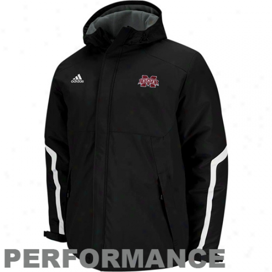 Adidas Mississippi State Bulldogs Black Primary Logo Heavyweight Full Zip Hoodie Jackst