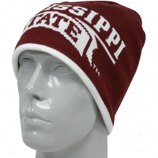 Adidas Mississippi State Bulldogs Maroon-white Players Reversible Knit Beanie