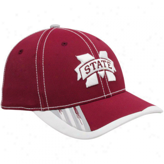 Adidas Mississippi State Bulldogs Youth Maroon Players Flex Hat